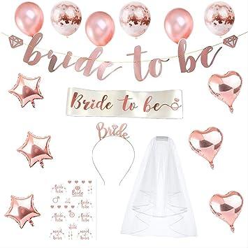purejoy rose gold bachelorette party supplies kit bridal shower decorations sash veil tiara