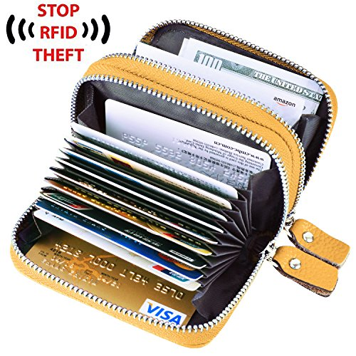 Yellow Genuine Leather (MaxGear Credit Card Purse Genuine Leather Credit Card Wallet RFID Women Credit Card Case Holder Credit Card Holder Yellow)
