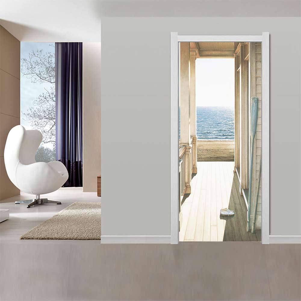 Self Adhesive Door Stickers Waterproof Living Room Bedroom Door Wall Paper G