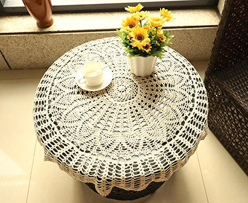 Jinshing 31 Inch Round Handmade Crochet Sunflower Cotton Lace Table Cloth Doily (beige)