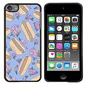 Planetar® ( Hotdog Loco floral Random Azul Alimentos ) Apple iPod Touch 6 6th Touch6 Fundas Cover Cubre Hard Case Cover