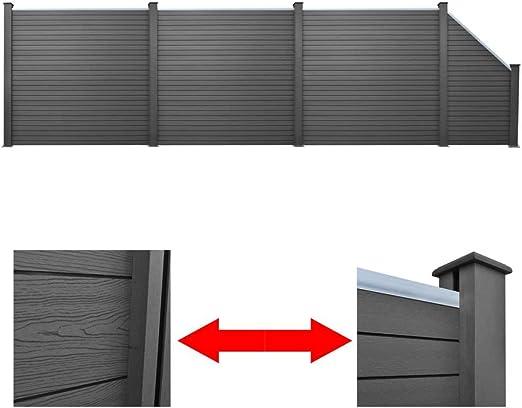 XuzhEU - Juego de 3 Paneles de Valla Cuadrados + 1 Alambre galvanizado 638 cm WPC Gris PVC Revestido Valla de Malla de Alambre galvanizado para Vallas, Barrera de Patio Trasero: Amazon.es: Jardín