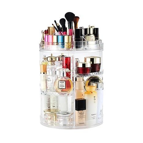 Boxalls Organizador de Maquillaje de Giratorio, Transparentes | Organizador de Cosméticos con Rotación 360 Grados, Ajustable, Compartimento de ...