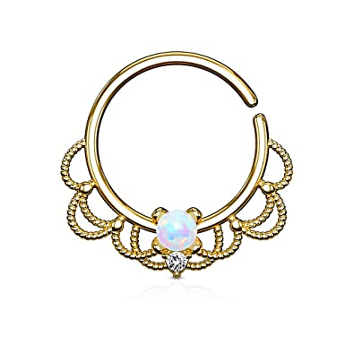 9719a5822 Amazon.com: Opal Set Centered Filigree Bendable WildKlass Hoop Rings for Nose  Septum, Daith and Ear Cartialge (Gold/Opal White): Jewelry