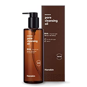 Hanskin Pore Cleansing Oil, Gentle Blackhead Cleanser and Makeup Remover for Combination and Oily Skin [BHA/10.14 oz]