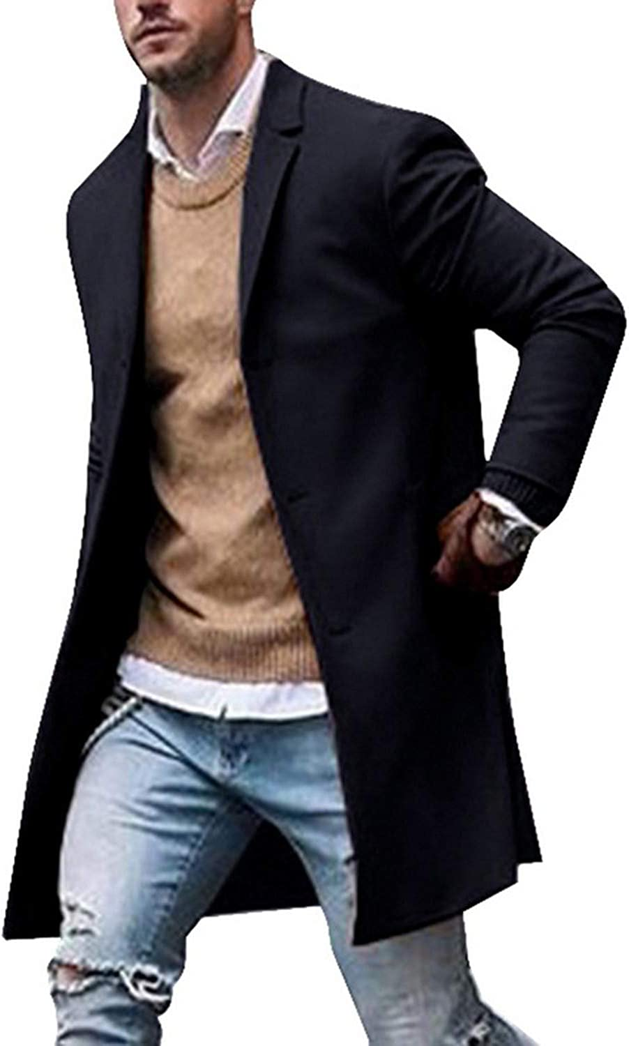 Winter Mens Lapel Single-Breasted Slim Leisure Coat Trench Overcoat Warm Parka