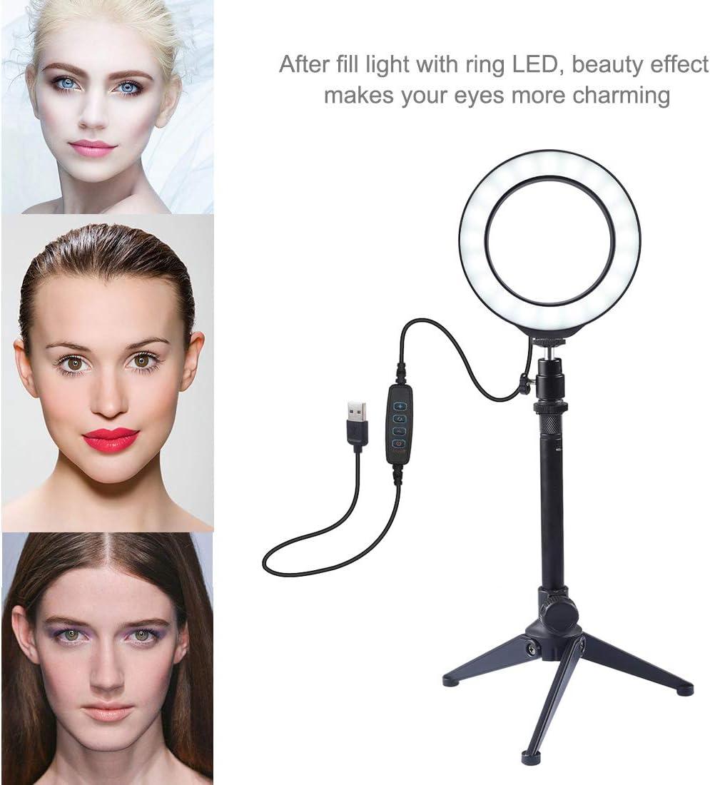 YouTube JBAG Photography Dimmable LED Selfie Ring Light Vlog Video Photography Lights+Desktop Tripod Holder+Cold Shoe Tripod Ball Head