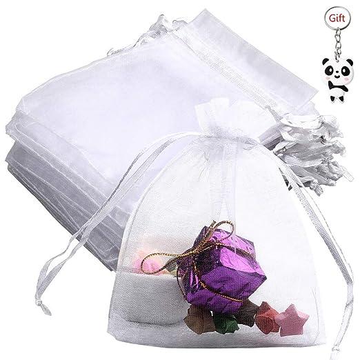 Siming - 50 bolsas de organza para regalo, 10 x 12 cm, color blanco