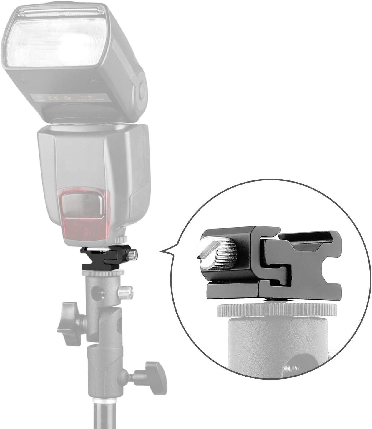 Ball Head Shoe Mount 1//4 Hot Shoe Mount Double Ballhead 1//4 Tripod Screw Multi-Function for LCD Monitors,Led Light,Microphone