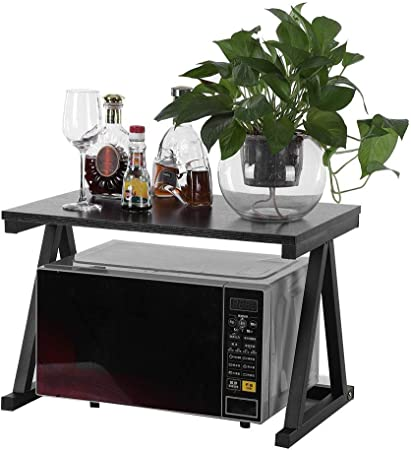 multifunci/ón de metal estilo A Negro estante de almacenamiento Soporte de horno microondas soporte para especias estanter/ía para microondas