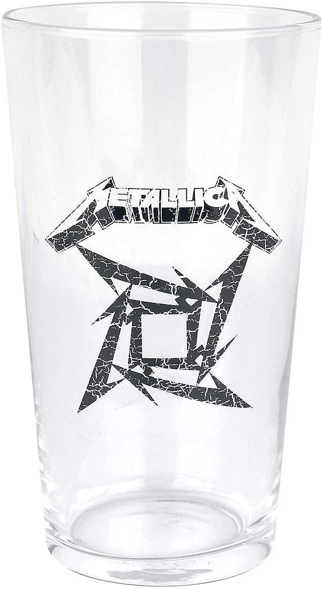 Metallica Ninja Star Logo Unisex Vaso de cerveza transparente, vidrio,