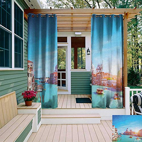 door Curtain Extra Wide, Grand Canal and The Salute Basilica on Sunny Day Touristic Destination, Fabric by The Yard W120 x L108 Inch Sky Blue White Cinnamon ()