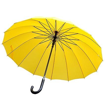 Paraguas Extra Grande de Mango Largo de Madera Resistente al Viento Dualbrella 16K con Cubierta (