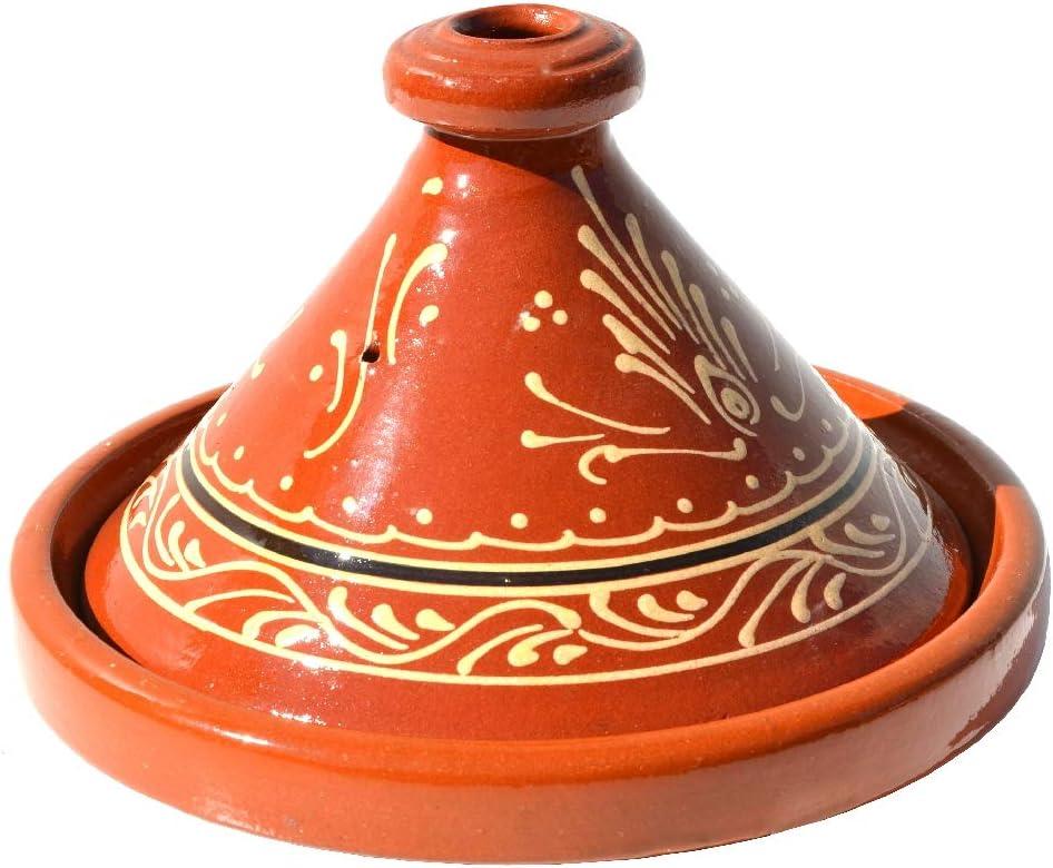 cazuela cazo de barro forma c/ónica /árabe cazo de jard/ín adecuado para 2-4 personas Taj/ín marroqu/í esmaltado di/ámetro 26 cm oriental. decorado marroqu/í