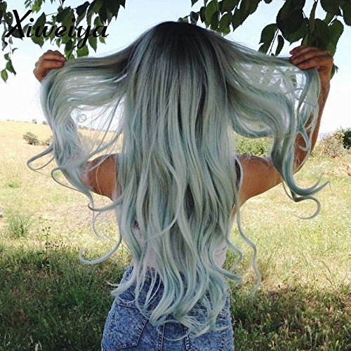 Heat resistant short dark root body wave mermaid ombre green synthetic lace front wig for women half hand tied replacement -