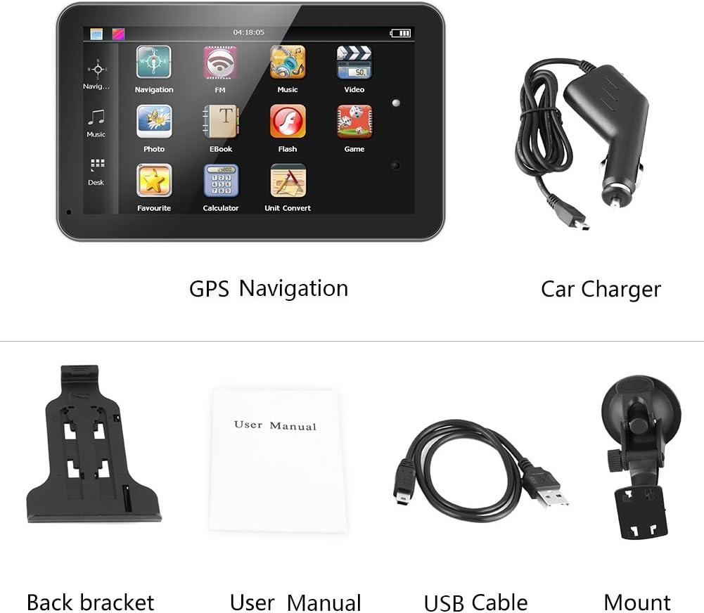 7 pulgadas de pantalla táctil Navegación GPS Mapas Sistema de dispositivo Internacional, Navegador GPS 128M 8GB FM con Bluetooth Actualización de mapas de por vida para automóviles Vehículos(Europe)