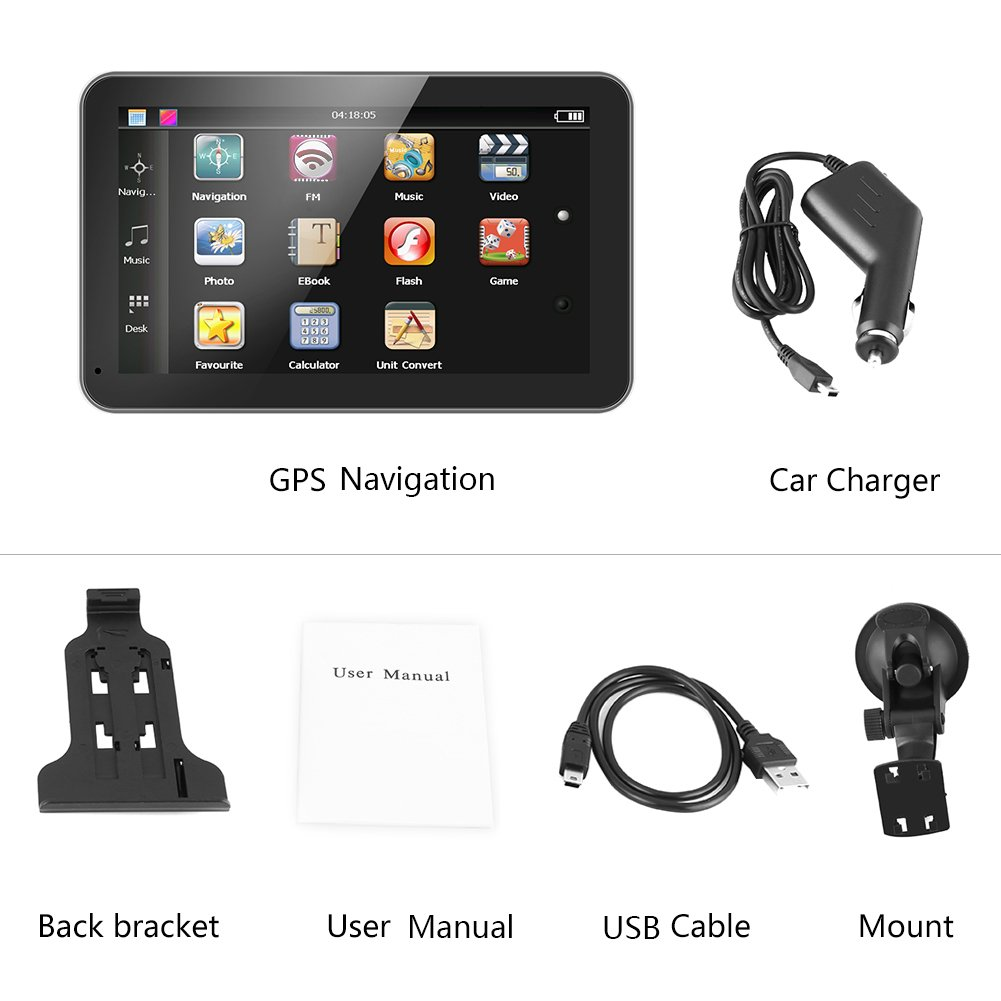 Car GPS Navigation, 7 Inch Touch Screen Portable Car Navigator GPS Navigation 128M 8GB FM with Free Map(North America) by Qii lu