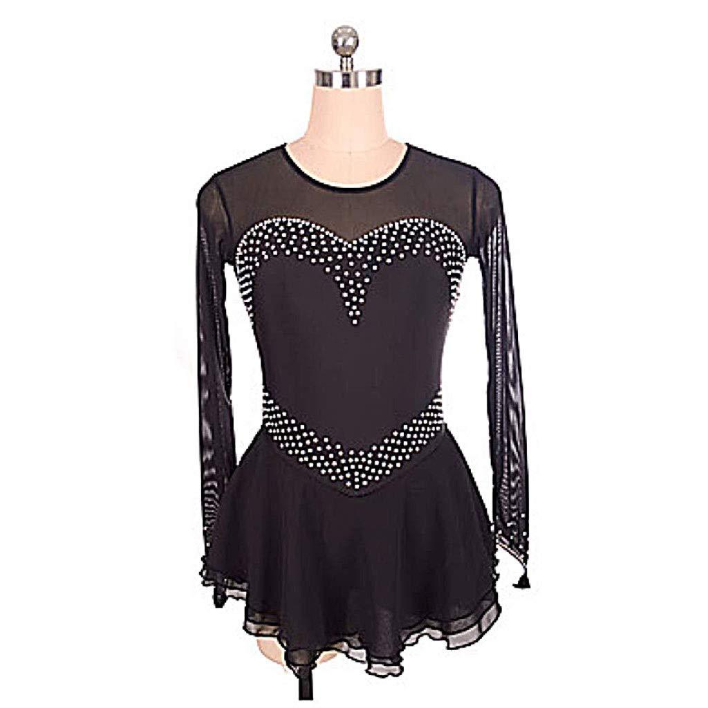 フィギュアスケートドレス女性女の子黒スパンデックス非弾性トレーニング競技スケートウェア単色ノースリーブスケートドレス ブラック Child14