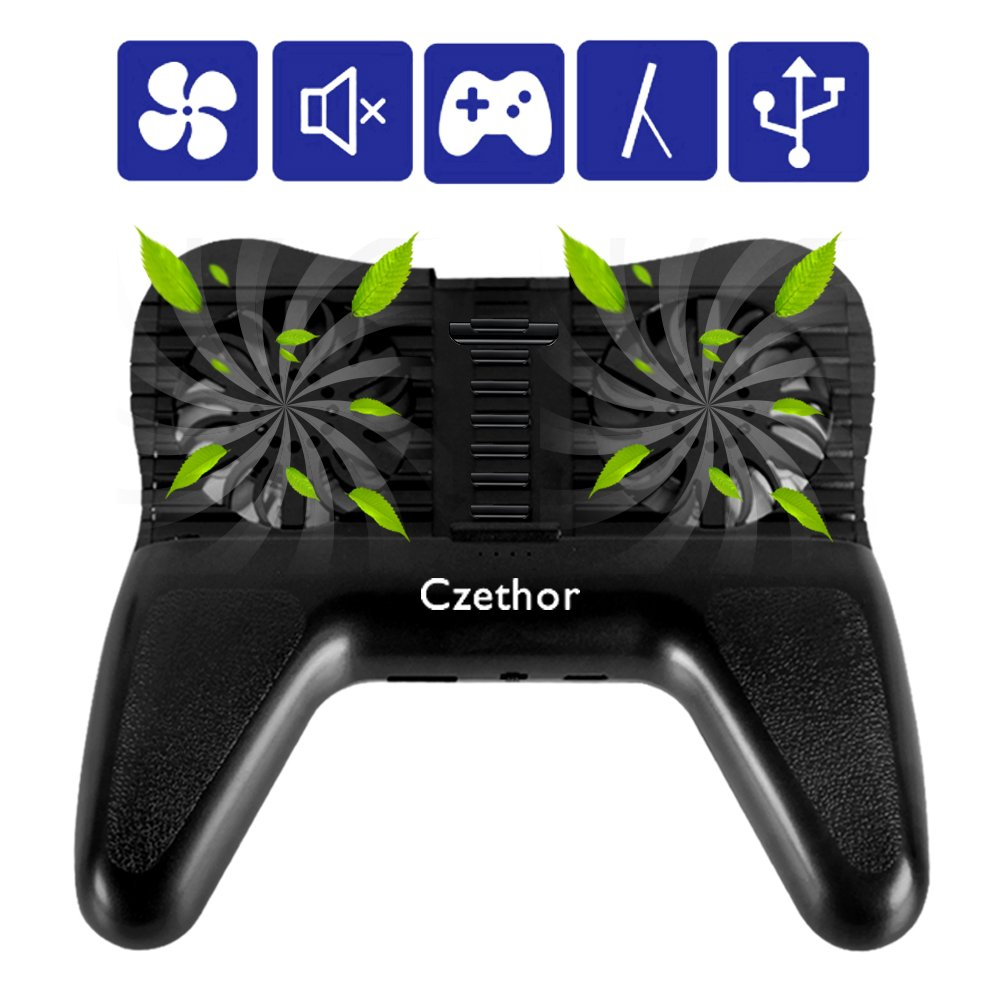 Phone Cooling Pad-Czethor 3 in 1 Cooling Fan Stand Holder with 2200mAh Portable Charger External Battery Suitable for Watching TV Mobile Games PUBG/Knives Out/Rules of Survival