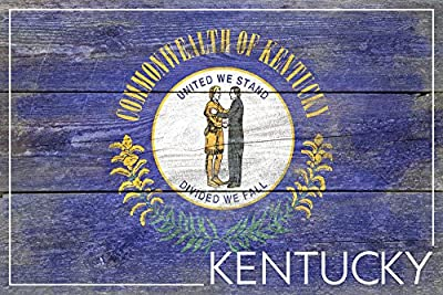 Kentucky State Flag - Barnwood Painting (9x12 Collectible Art Print, Wall Decor Travel Poster)