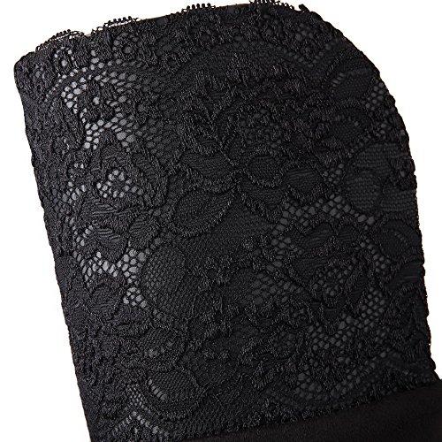 negras de punta de tacón redonda botas imitación alto redondeados alto con Botines tacón AgooLar altas 58xX6wf