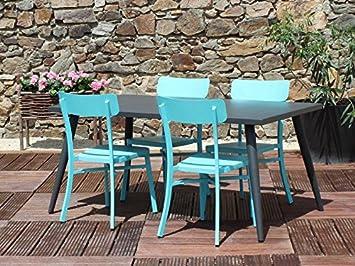 Salon repas MICA anthracite - Couleur - Bleu: Amazon.fr: Jardin