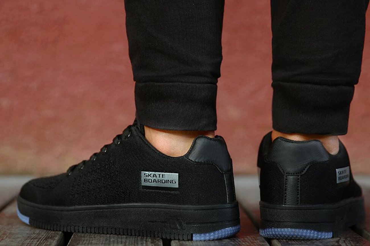 Herren Skate Schuhe Net Net Net Akzente Sport Casual Low-Top-Trainer (schwarz grau grün) 133743