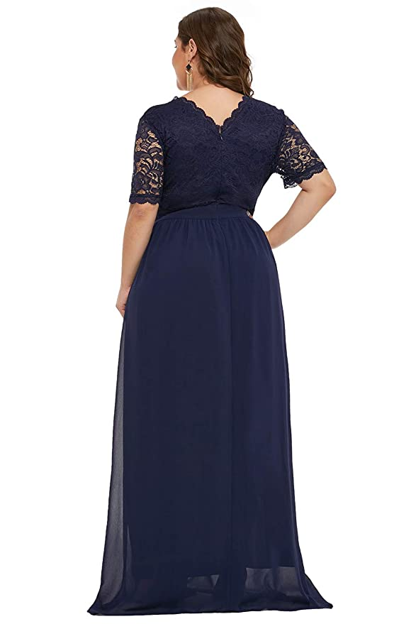 db6271b31a0 Foryingni Women s Plus Size Floral Lace High Waist Evening Maxi Dress with  Sleeves  Amazon.ca  Clothing   Accessories