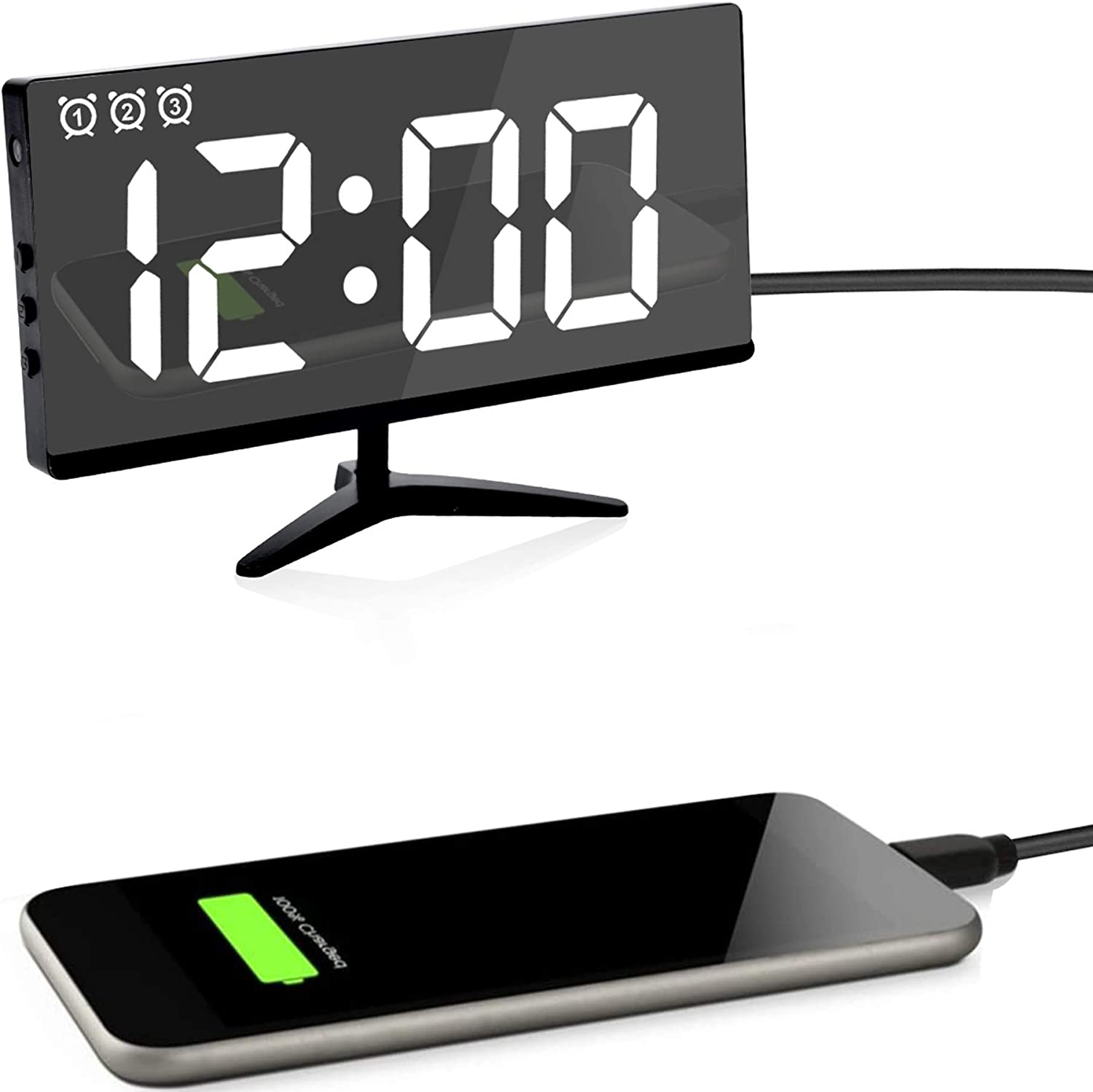 Details about  /Large Screen LED Mirror Clock Electronic Alarm Clock Font Living Room Clock