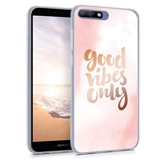 big sale f2c84 f0b82 kwmobile Case for Huawei Y6 (2018) - TPU Silicone Crystal Clear Back Case  Protective Cover IMD Design - Light Pink/Rose Gold/White