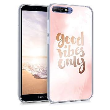 kwmobile Funda para Huawei Y6 (2018) - Carcasa de TPU para móvil y diseño Buenas Vibraciones en Rosa Claro/Oro Rosa/Blanco