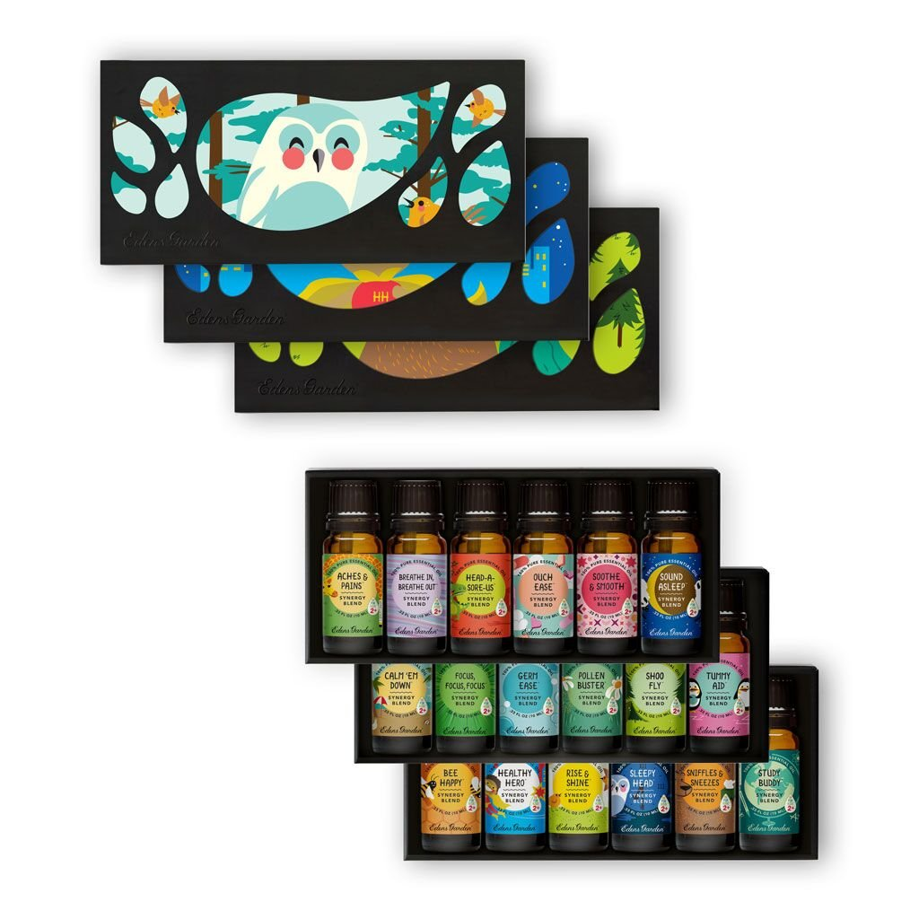 OK For Kids 18 Set - Edens Garden Essential Oil Synergy Blends Complete - (18) 10 ml (Aches & Pains, Breathe In, Breathe Out, Head-A-Sore-Us, Ouch Ease, Soothe & Smoothe, Sound Asleep)