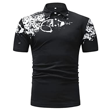 30c8428985b9d Polo Homme Manche Courte Ete Imprimé Polo Shirts Casual T-Shirt pour Homme  Mode Slim