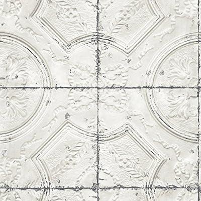 Chesapeake 3115-12431 Deerfield Vintage Tin Tile Wallpaper, Off-White