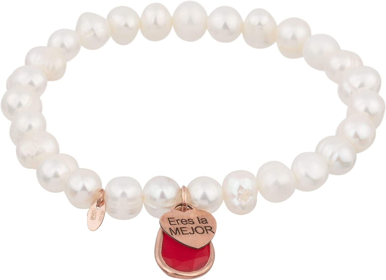 Córdoba Jewels |Pulsera en Plata de Ley 925 con Perla y Piedra semipreciosa con diseño Eres la Mejor Perla