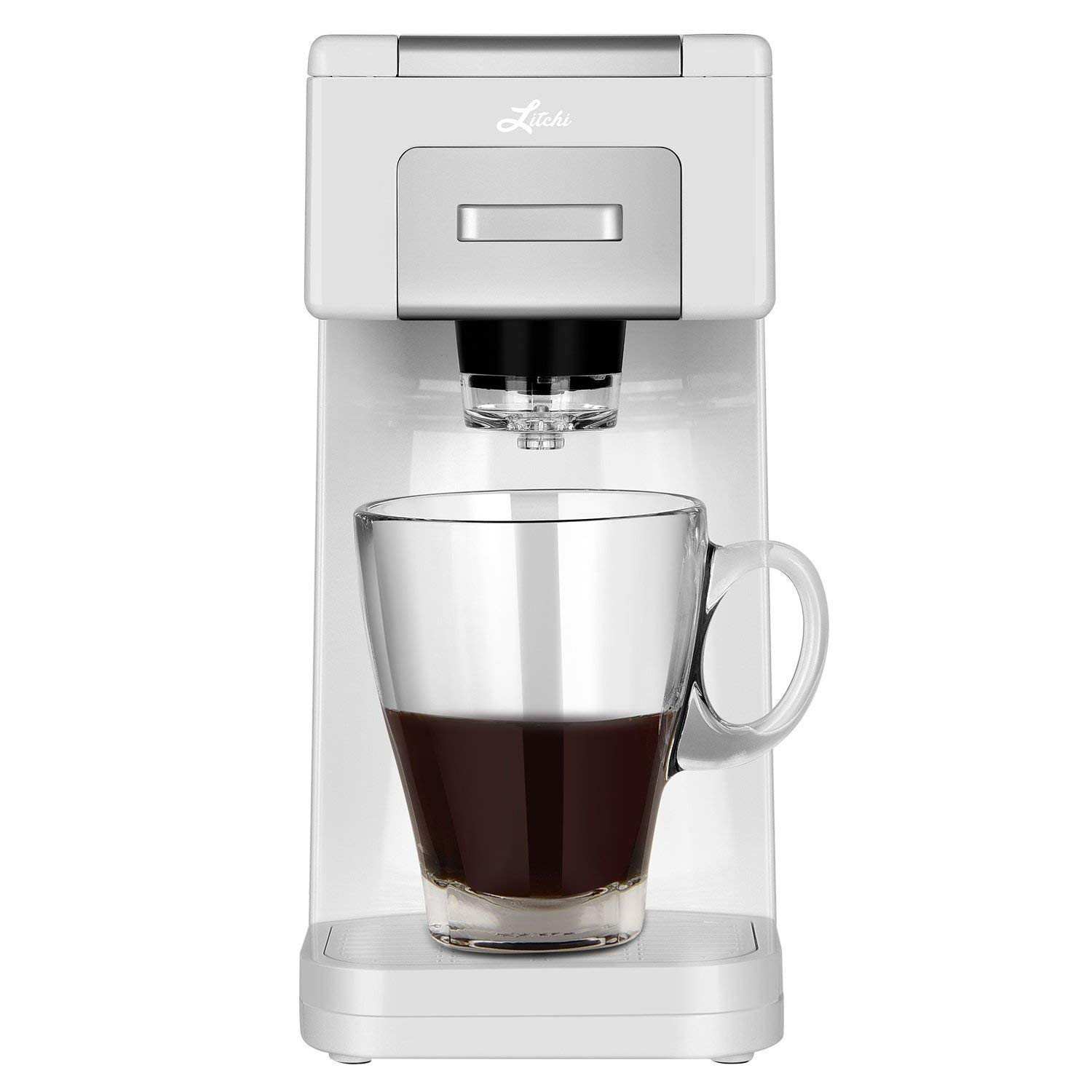 Litchi Single Serve Coffee Maker for Most Single Cup Pods Including K Cup Pods, Ground Coffee, 40 OZ Detachable Reservoir, 4 OZ, 8 OZ or Customized Brew Size (White F)