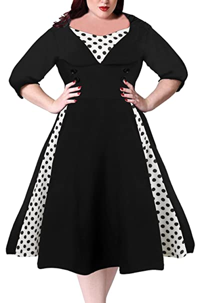 Polka Dot Dresses: 20s, 30s, 40s, 50s, 60s Nemidor Womens Half Sleeves 1950s Vintage Style Plus Size Swing Dress $35.99 AT vintagedancer.com