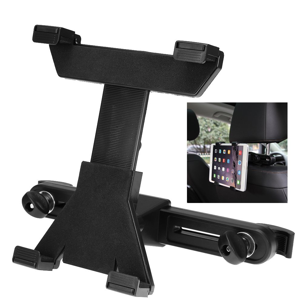 Car Headrest Mount Holder for iPad Air Mini Pro Samsung Galaxy Motorola Xoomand Kindle Fire and All up to 7-11 inch Tablet - 360 Degree Rotation, Black Anxingo