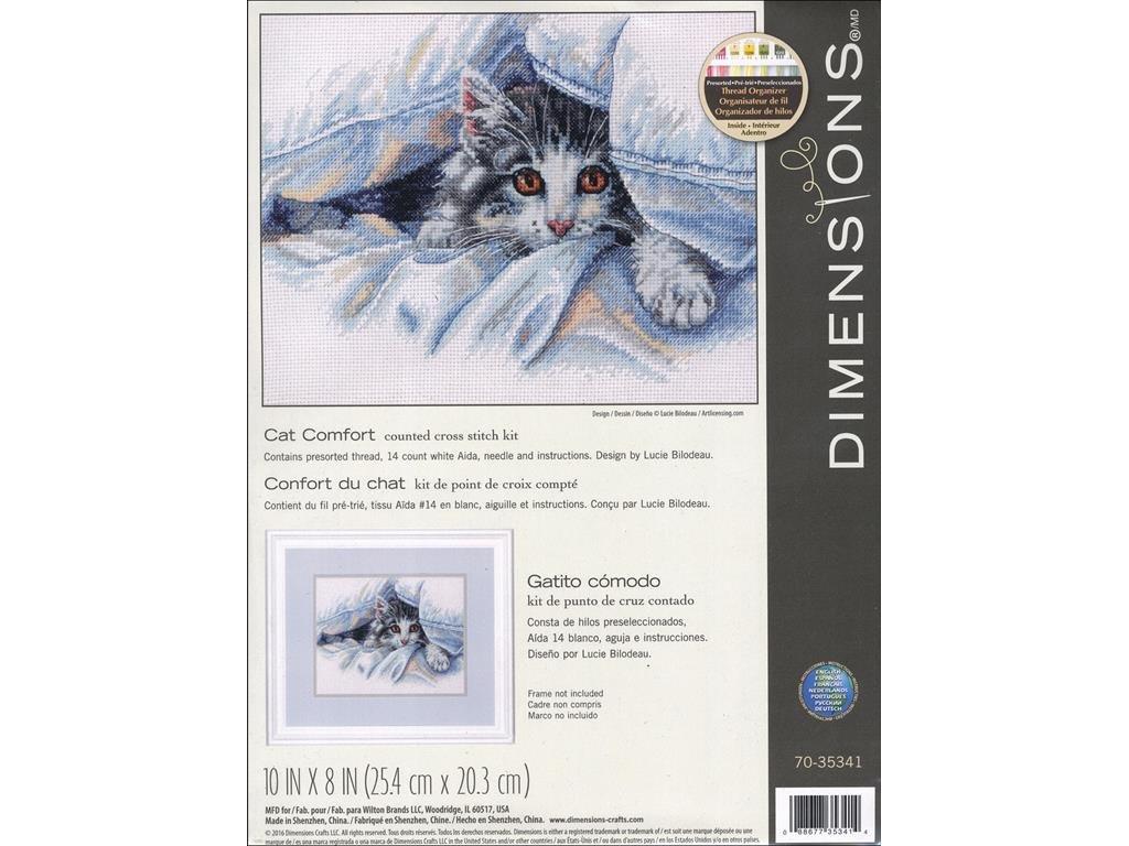 Amazon.com: Dimensions Cross Stitch Kit 10x8 Cat Comfort