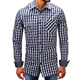Men shirts Clearance WEUIE Men Lattice Denim Long-Sleeve Beefy Button Basic Solid Blouse Tee Shirt Top (L, Dark Blue)