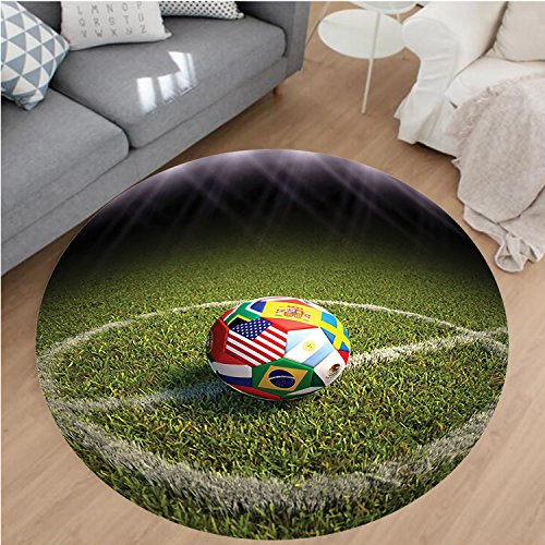 Nalahome Modern Flannel Microfiber Non-Slip Machine Washable Round Area Rug-Ball on a Soccer Field Printed Flags of the Participating Countries Image Green White Red area rugs Home Decor-Round 79'' by Nalahome