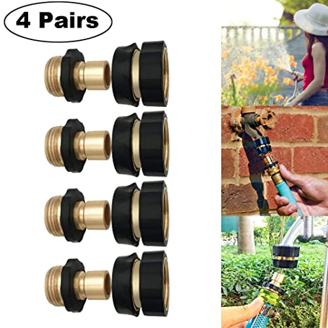 1 Pairs Universal Garden Hose Quick Connect Set Brass Hose Tap Adapter Connector