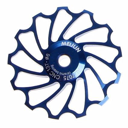 Vovotrade 13T MTB Cerámico Cojinete Jockey Rueda Polea La carretera Bicicleta Posterior Desviador (Azul)