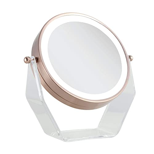 Zadro Products Next generation two-sided led lighted vanity swivel mirror in acrylic base with 1x and 8x magnification, Rose Gold