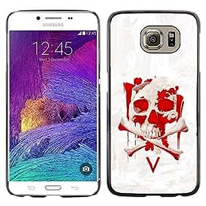 LECELL--Funda protectora / Cubierta / Piel For Samsung Galaxy S6 -- Vendetta Red Skull V --