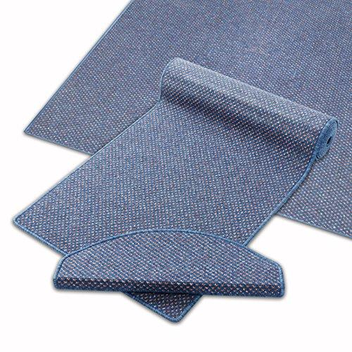Teppich Läufer blau | Qualitätsprodukt aus Deutschland | GUT Siegel | kombinierbar mit Stufenmatten | 19 Breiten und 27 Längen (300x250 cm)