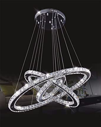 Dixun crystal chandelier crystal led pendant with oval three rings dixun crystal chandelier crystal led pendant with oval three rings ceiling light fixture 40cm warm mozeypictures Images