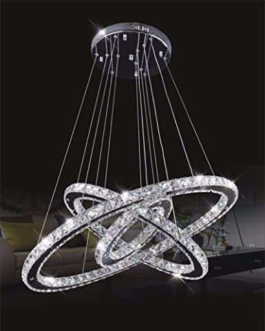 Dixun crystal chandelier crystal led pendant with oval three rings dixun crystal chandelier crystal led pendant with oval three rings ceiling light fixture 40cm warm mozeypictures Gallery