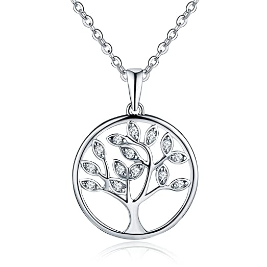 Tree Of Life Necklace 925 Sterling Silver Cubic Zircon Family Tree Yggdrasil Pendant Necklace For Women 18 Inch wFyhSRW