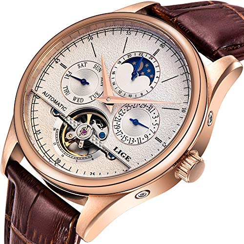 LIGE Waterproof Mens Watches Business Calendar Mechanical EEN Watch Automatic Gold White Leather Strap Wristwatch - Leather Strap Wrist Watch